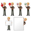 blonde businessman holding sign board vector image