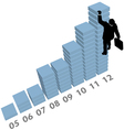 Business man climbs up sales data chart vector image vector image