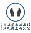 Care Hands Flat Rounded Icon With Bonus vector image vector image