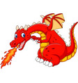 cartoon dragon posing with fire vector image vector image