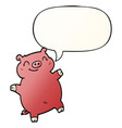 cartoon pig and speech bubble in smooth gradient vector image vector image