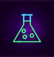 chemical flask neon label vector image