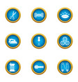 clean cloth icons set flat style vector image vector image