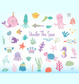 cute cartoon sea animals and plants vector image vector image