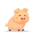 cute pig cartoon sitting vector image
