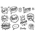 dash line drawing chat bubble sketch isolated set vector image vector image