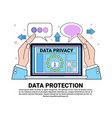 data safety cloud shield laptop protects palms vector image vector image