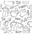 Dish set seamless pattern on white background