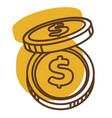 dollar coins and money cash for finance and vector image vector image