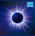eclipse with sparkling star lights and radiant vector image