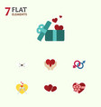 flat icon love set of celebration gift sexuality vector image vector image