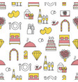 flat line art wedding seamless pattern vector image