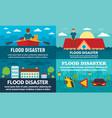 flood banner set flat style vector image
