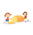 girls and bread vector image vector image