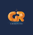 gr letter with origami triangles logo creative vector image vector image