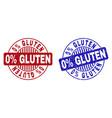 grunge 0 percents gluten textured round stamp vector image vector image