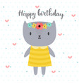 happy birthday cute greeting card with funny vector image vector image