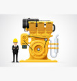 industrial engine machinery factory engineering vector image