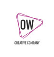 initial letter ow triangle design logo concept vector image vector image