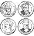 islamic philosopher stamp set vector image vector image