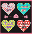 lettering valentines day in hearts 6 vector image vector image
