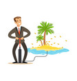 man in a business suit pumping the money to vector image