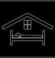 man in bed hotel the white path icon vector image