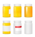 many yellow plastic medicine bottles realistic vector image vector image