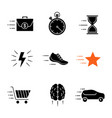motion glyph icons set vector image vector image