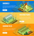 natural farming isometric horizontal flyers vector image vector image