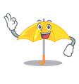 okay umbrella yellow in a shape cartoon vector image
