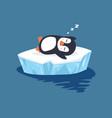 penguin sleeping on ice floe vector image vector image