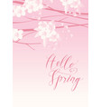 pink spring landscape with flowering tree vector image vector image