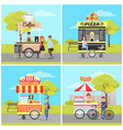 pizza and popcorn hot dog and coffee carts set vector image vector image
