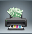 printer prints money dollars - business vector image vector image