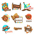 purim carnival jewish holiday isolated icons mask vector image vector image