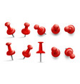push pin in different angles red thumbtack vector image vector image