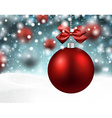 Red baubles over winter background vector image vector image