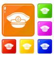 sailor cap icons set color vector image vector image