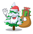 santa with gift fir with snow christmas tree vector image
