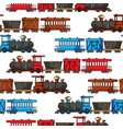 seamless pattern with colored trains and railroad vector image vector image