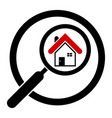 search house icon in a circle real estate vector image