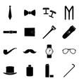 set black icons man accessories vector image