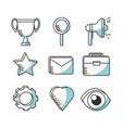 set line icons marketing concept vector image