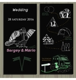 set of chalk board invitation for wedding in the vector image vector image