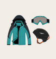 set of clothing for sport in winter vector image vector image