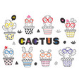 set of isolated coloring funny cactus in glasses vector image vector image