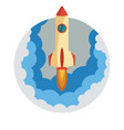 space rocket ship launch in circle vector image