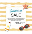 summer sale banner with sunglasses sun oil vector image vector image