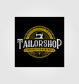 tailor shop vintage logo premium tattoo vector image